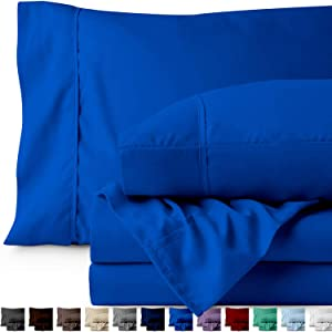 Bare Home Twin XL Sheet Set - College Dorm Size - Premium 1800 Ultra-Soft Microfiber Sheets Twin Extra Long - Double Brushed - Hypoallergenic - Wrinkle Resistant (Twin XL, Medium Blue)