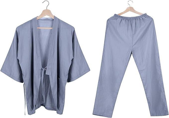Albornoz kimono de algodón para mujer y hombre, bata de baño ...