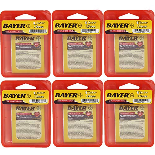 Bayer The Wonder Drug, 6 Count of Single Dose Relief 2 caplets per Pack. Relieves Headaches, Muscle Pain, Toothache, Menstrual Pain, Colds, and Minor Arthritis Pain ...