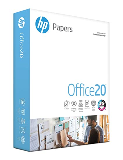 HP Printer Paper, Office20 Paper, 8 5 x 11 Paper, Letter Size, 92 Bright -  1 Ream / 500 Sheets (172160R)