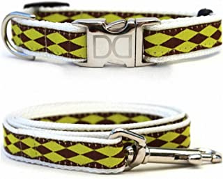 """product image for Diva-Dog 'Harlequin Green' Custom Small Dog 5/8"""" Wide Dog Collar with Plain or Engraved Buckle, Matching Leash Available - Teacup, XS/S"""