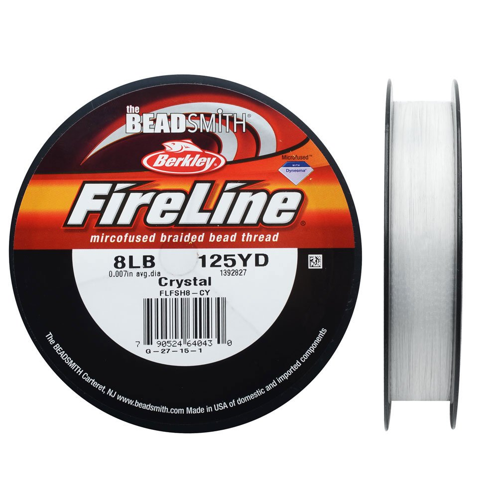 Fireline Braided Beading Thread, 8 LB Test and .009'' Thick, 125 Yards, Crystal Clear by FireLine