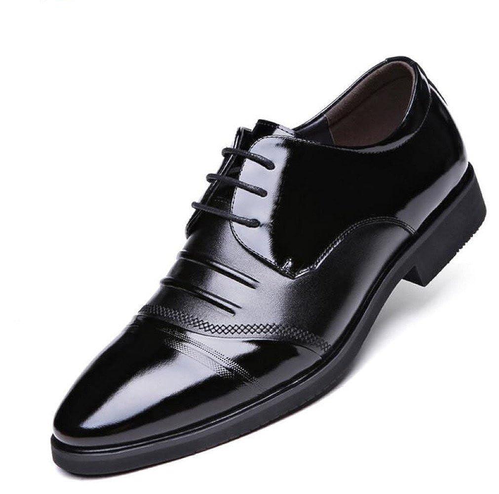 LYZGF Männer Jugend Business Casual Fashion Atmungs Gentleman Verheiratet Schnürung Lederschuhe