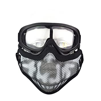 Freehawk Tactical Airsoft Máscara Gafas Set, Airsoft Máscara Media Cara Malla de Acero para Airsoft, Caza, Paintball y Disparo, Graffiti Mask + Goggle: ...