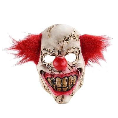 Horror De Halloween Máscara De Demonio Joker Scary Cosplay Mal Payaso De Circo Máscara Para Adultos, Traje De Halloween Partido De Los Apoyos Máscaras (Pelo Rojo): Juguetes y juegos