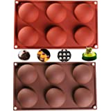 2Packs 6 Holes Silicone Mold For Chocolate, Cake, Jelly, Pudding, Hot Cocoa,Handmade Soap, Dome Mousse Half Sphere Silicone M