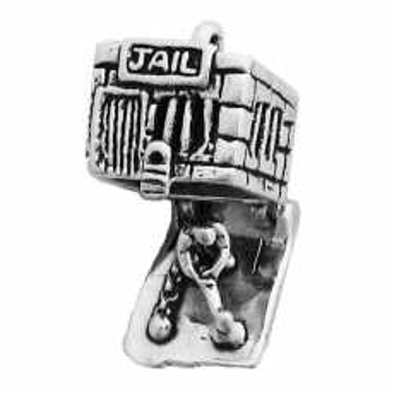 Sterling Silver Girls .8mm 3D Openable Jail House Man In Chains Working Inside Pendant Necklace