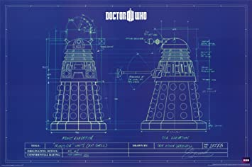 Amazon.com: Doctor Who - Dalek Blue Prints Poster 36 x 24in: Dr Who