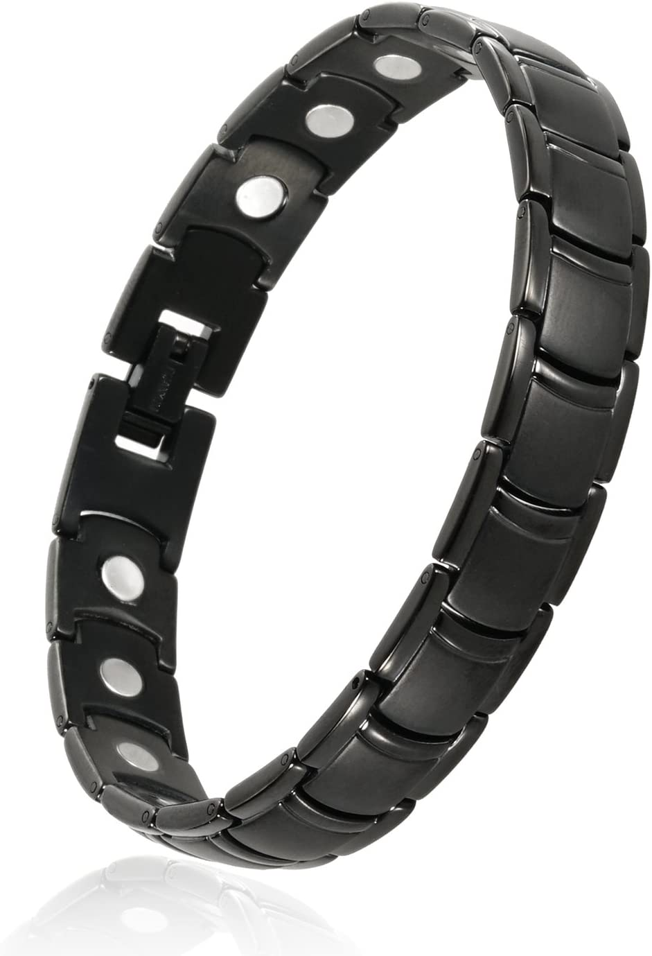 ANNSAN Mens Womens Titanium Magnetic Therapy Bracelet with Magnets Germanium, Healing Magnet Bracelet with Free Link Removal Tool (Black): Health & Personal Care