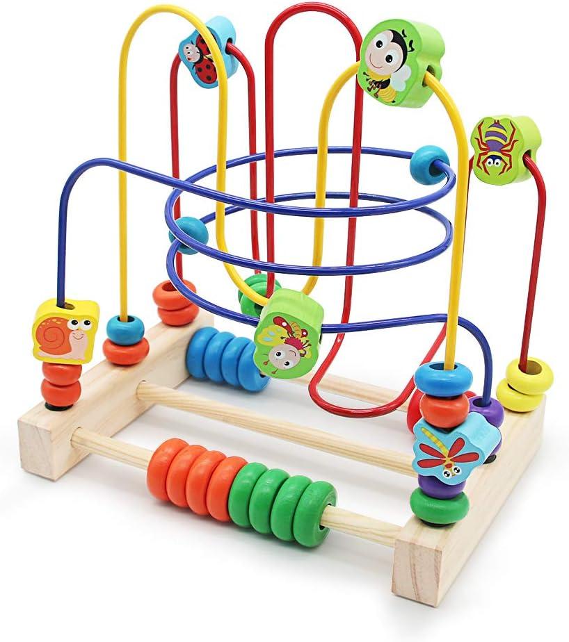 Abacus de Madera Juega Laberinto del Grano con 6 Insectos 3 Montaña Rusa Juguetes Educativos Regalo de los Niños para Niños Niñas 3 Años