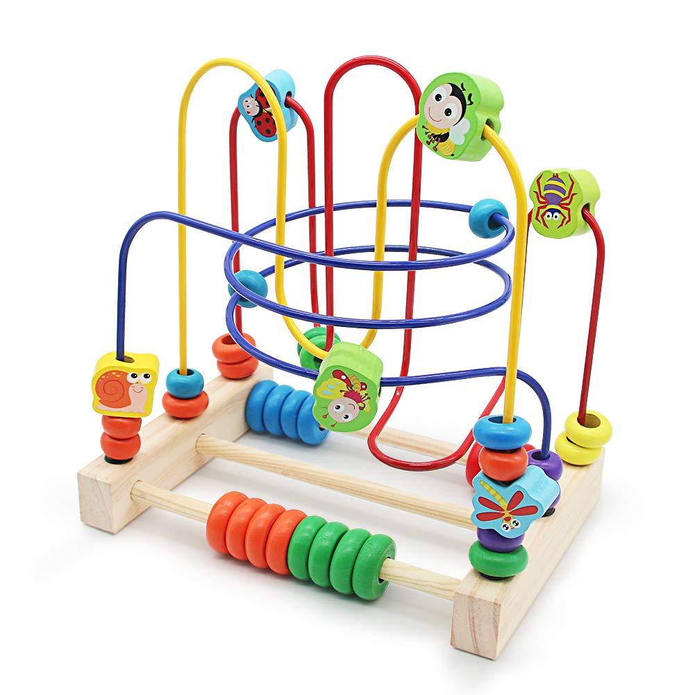 Nuheby Motorikschleife Holz Spielzeug Baby Lernspielzeug 6 Insekt Labyrinth Spiel Abakus Spielzeug für Kinder 3 4 5 Jahre alt Mädchen Junge XQU