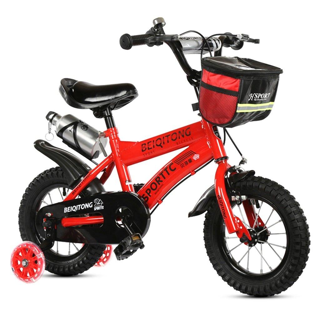 KANGR-子ども用自転車 子供用自転車適合2-3-6-8男の子と女の子子供用玩具屋外用マウンテンバイクハンドルバーとサドルはフラッシュトレーニングホイールで調節可能な高さにできますウォーターボトルとホルダー-12 14 16 セットアップ 18インチ 格安 色 赤 : B07BTTYHMY サイズ さいず inches