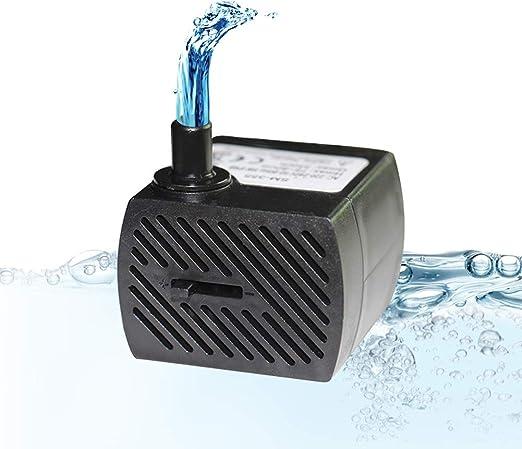 Homvik Mini Bomba de Agua Sumergible 350L/H 5W Bomba Agua Ultra Silencioso para Acuario Estanque Pecera y Fuente de Agua Mascotas Circulación de Agua Dulce y Marino Altura 0.8m: Amazon.es: Jardín