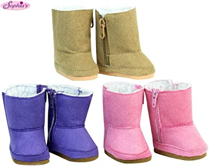 SUEDE EWE SHERPA BOOTS SHOES fits American Girl Dolls NEW HOT PINK