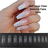 AORAEM Coffin Nails 500PCS Half Cover Acrylic False Ballerina Fake Nail Tips 10 Sizes for Nail Art Salons and DIY Polish Manicure (Clear)