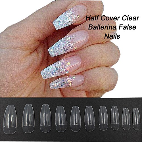 Coffin Nails 500pcs Half Cover Acrylic False Nail Tips Coffin Ballerina Nails 10 Sizes With Bag for Nail Salons and DIY Manicure(Half Cover, Clear) -