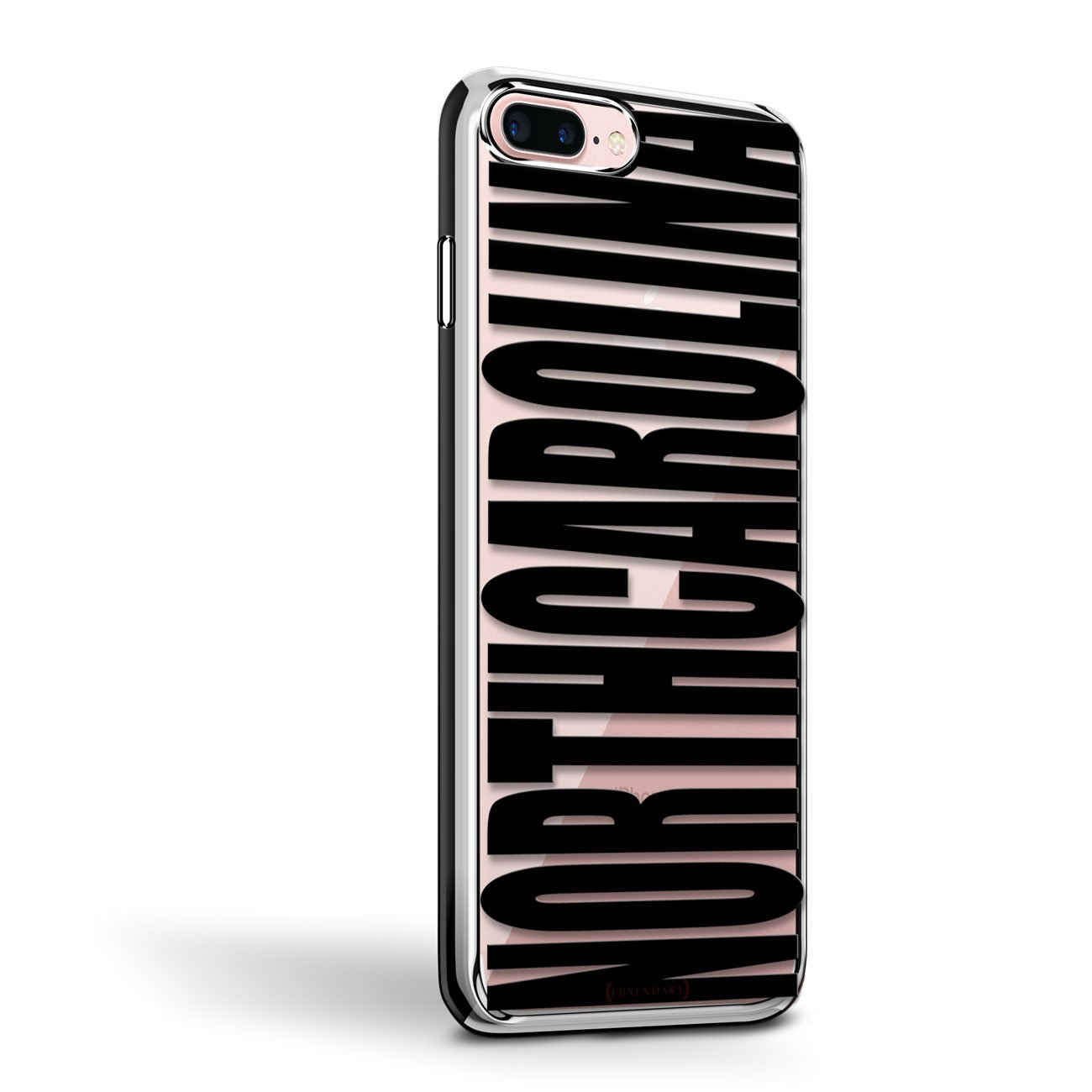Amazon.com: Bold Black North Carolina | Luxendary Chrome Series Designer case for iPhone 8/7 Plus in Silver Trim: Cell Phones & Accessories