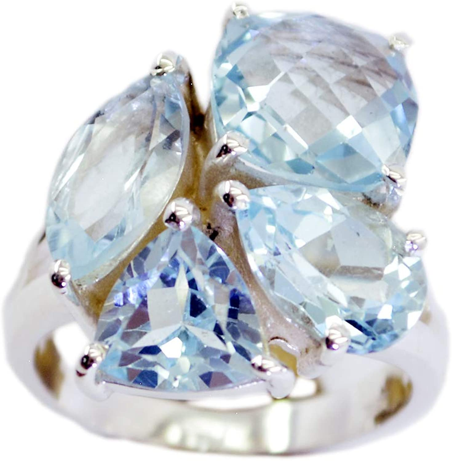 Common 925 Sterling Silver comely Natural Blue Ring Blue Topaz Blue Gems Silver Ring