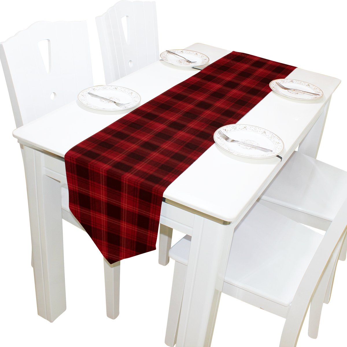 Yochoice Table Runner Home Decor, Vintage Blakc Red Plaid Table Cloth Runner Coffee Mat for Wedding Party Banquet Decoration 13 x 90 inches