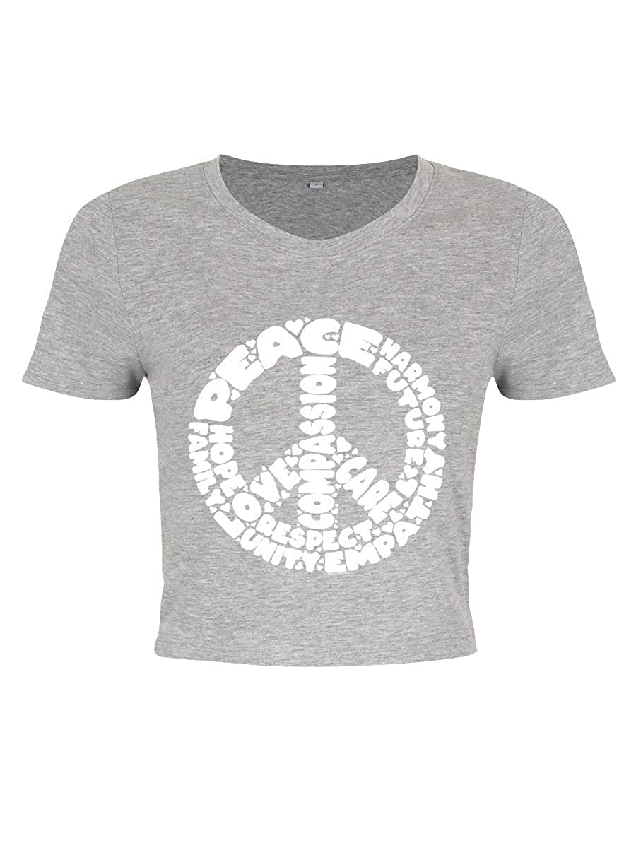 Womens Peace /& Hope Heather Crop Top T-Shirt Grey