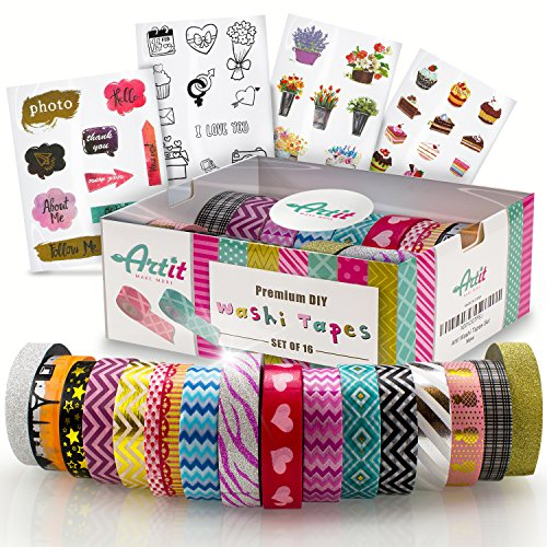 ARTIT Washi Tape Set 16 Extra Long (33 Feet) Decorative Craft Duct Masking Rolls Kit Scrapbooking DIY Foil Glitter Patterned Solid Colored Gold Sticky Adhesive Includes 4 Bonus Sticker (Pattern Decorative Masking Tape)