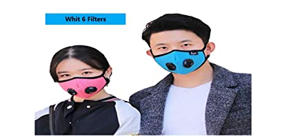 Reusable dust mask with DOUBLE and SIX breathing valves (6