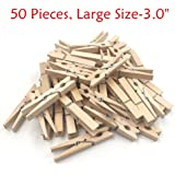 Natural Wood Clothespins with Spring, Multi-Function Photo Paper Peg Pin Craft Clips, 50 Pieces, Large Size 3.0 inches for Home, School, Arts, Crafts and Decor by aHeemo