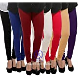 Klugger Cotton Lycra 160 GSM | 4 Way Stretchable | Multicolour Leggings Women's Combo (Pack-7) Free Size-_Free Size