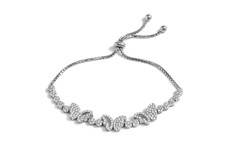 Sterling Silver Cubic Zirconia multi butterfly friendship bolo adjustable bracelet