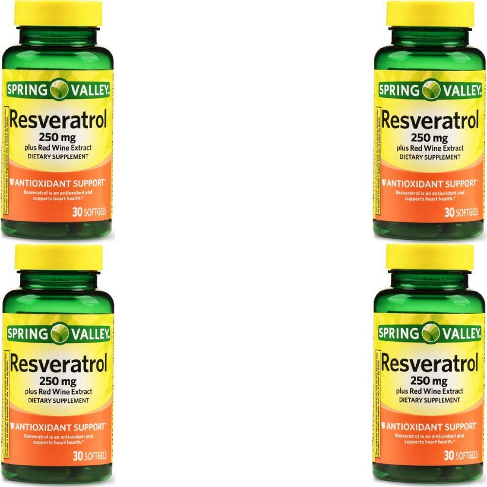 Spring Valley Resveratrol Plus Red Wine Extract Softgels, 250mg, 30 Count by Spring Valley (4 Pack)