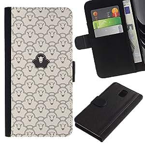 WINCASE Cuadro Funda Voltear Cuero Ranura Tarjetas TPU Carcasas Protectora Cover Case Para Samsung Galaxy Note 3 III - patrón de ovejas negro significado divertido inteligente