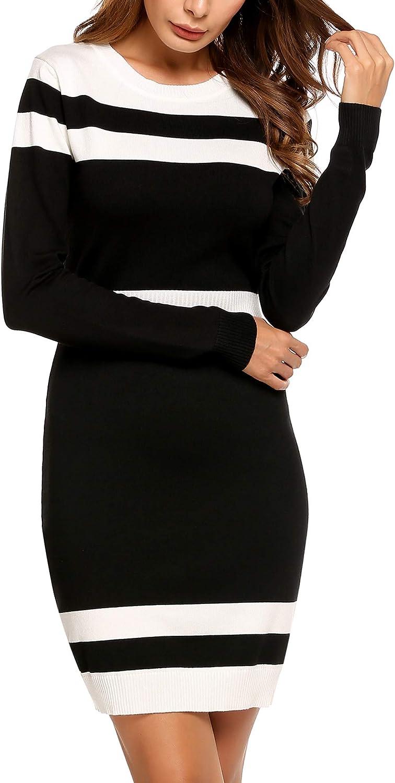 Beyove Womens Colorblock Striped Long Sleeve Cotton Knit Sweater Bodycon Dress