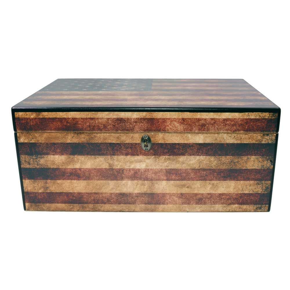 Quality Importers Trading Old Glory Humidor, Weathered American Flag, Glass Hygrometer, Spanish Cedar Tray with Divider, SureSeal Technology, Holds Up to 100 Cigars by Quality Importers Trading