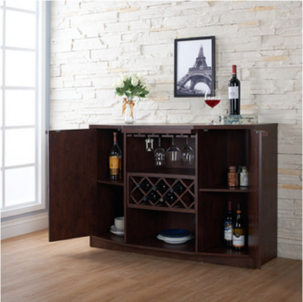 Amazon.com: Wine BAR Buffet And Storage Cabinet With Center Glass And Wine  Rack, Side Shelves, And Open Focal Point Shelf (Walnut): Kitchen U0026 Dining