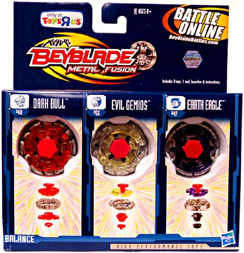 Beyblades 2010 Metal Fusion Exclusive Battle Top 3Pack Earth Eagle, Evil Gemios Dark Bull by Hasbro