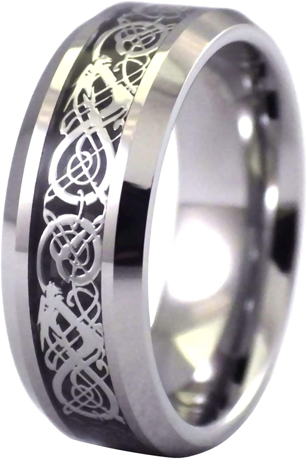 Fantasy Forge Jewelry Tungsten Celtic Dragon Ring Viking Black Wedding Band Handfasting Sizes 6-15