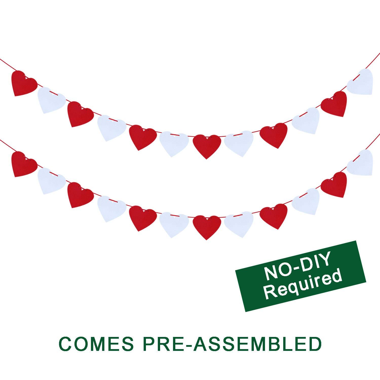 Felt Heart Garland Banner No Diy Valentines Day Home Decor Valentines Decorations Valentines Hanging Banner Valentines Party Decorations