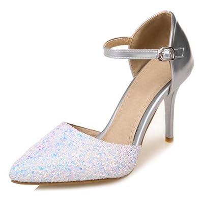 SJJH Damen Elegant Closed Toe Pumps mit Hohem Absatz Sandalen Schuhe für die Hochzeit (Silver, 44 EU)