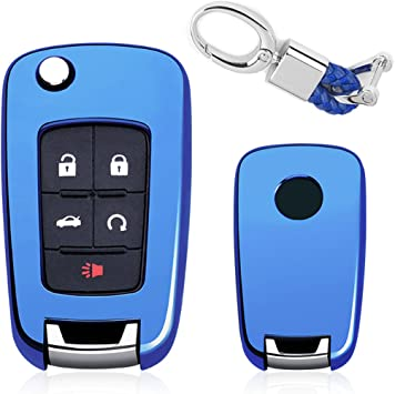 Flip Key Fob Chain For Chevrolet//Buick Keychain Accessories Case Cover Ring,Blue