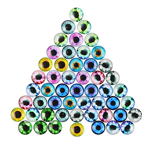 DECORA 20mm Assorted Design Glass Eyes For Handcraft, Decoration.48pcs -