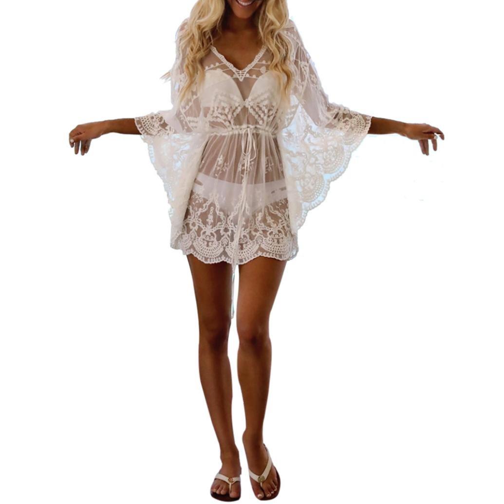 kingko Sommer Damen Bademode Stricken Mini Strandkleid Beach Lace Bikini Dress Elegant Hand-Woven Strandkleid V Ausschnitt Chiffon Bikini Cover up Sommerkleid
