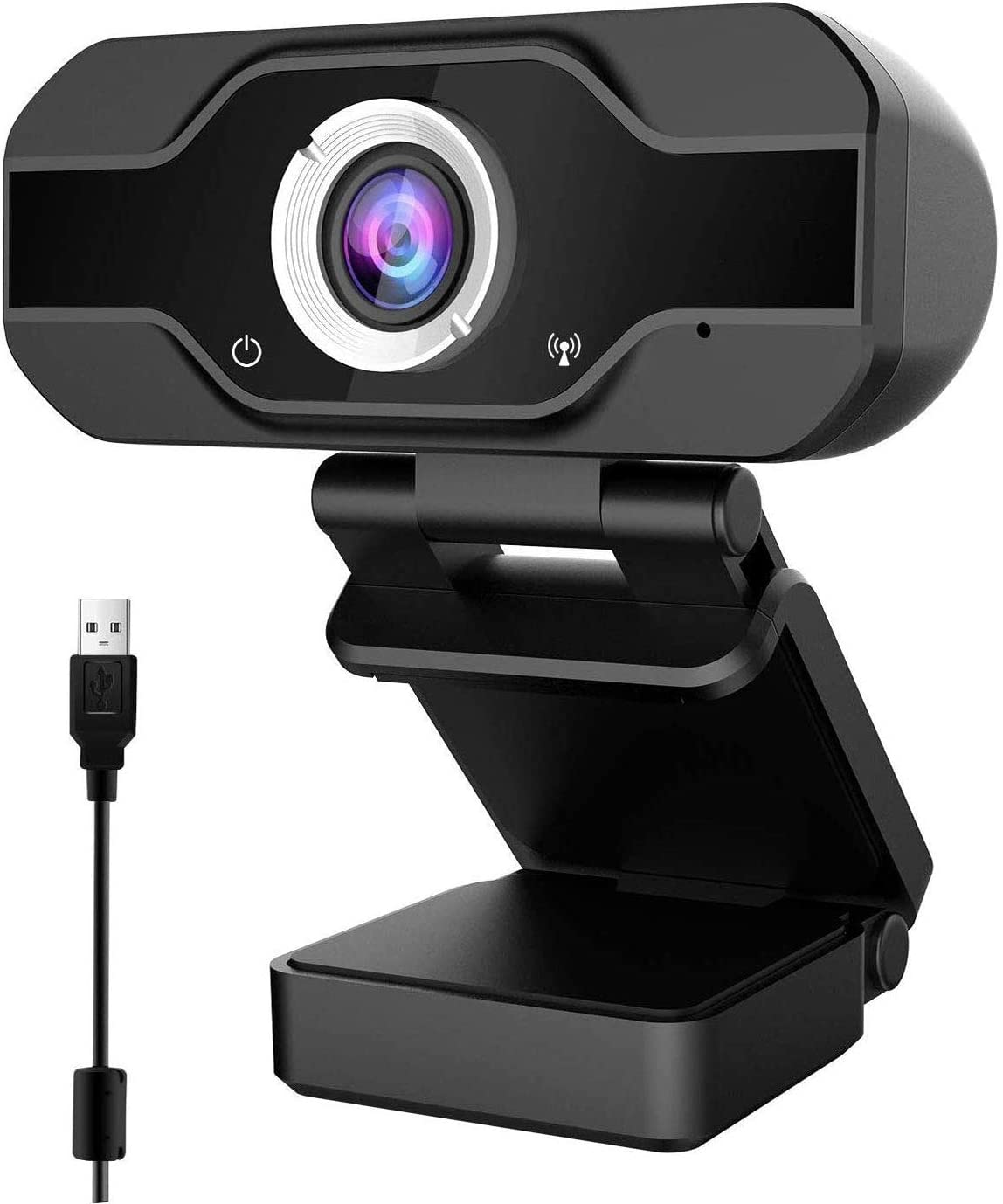 1080P PC Webcam with Microphone, Webcam for Laptop or Desktop Webcam, USB Computer Camera, Gaming Conferencing, HD Video Webcam 90-Degree Widescreen Web Camera Black