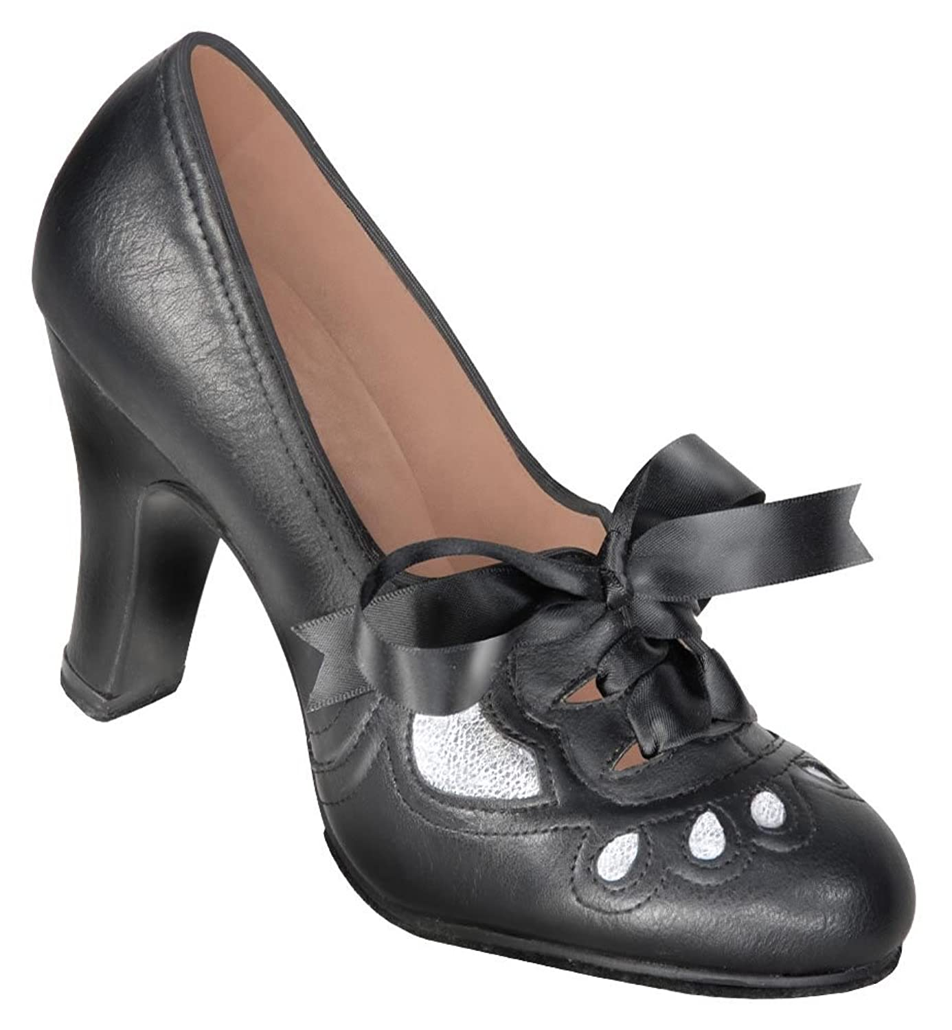 Swing Dance Shoes- Vintage, Lindy Hop, Tap, Ballroom Aris Allen Womens 1930s Black and Silver Lace-up Heeled Oxford Shoes $48.95 AT vintagedancer.com