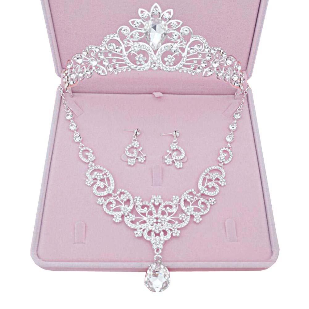 Women Silver Wedding Bridal Jewelry Set Crown Necklace Earrings Set 28
