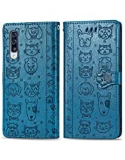 Miagon PU Leather Wallet Case for Samsung Galaxy A50,Cat and Dog Animal Design Embossing Flip Stand Function Cover with Card Slots Magnetic Buckle and Lanyard,Blue