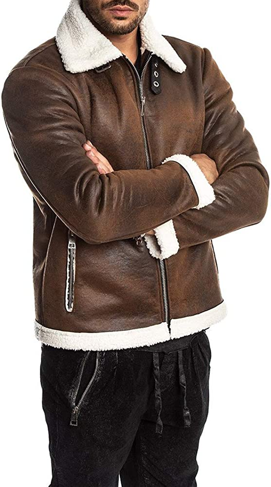 Hestenve Mens Faux Leather Jacket Brown Motorcycle Bomber Shearling Suede Stand Collar