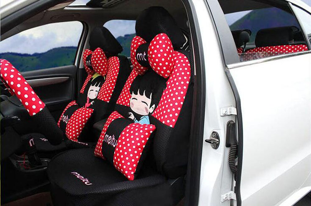 20pcs/SET new 2016 luxury cartoon Seat Covers for cars Front & Back car covers four seasons Universal car seat cover car interior Red dot & black V5603 by Maimai88 (Image #1)