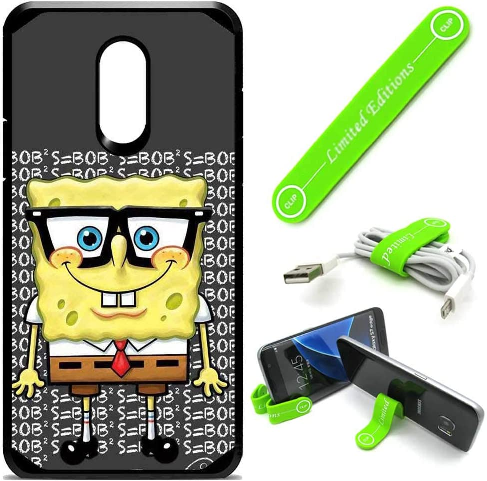 Hybrid Rugged Hard Cover Case Compatible with LG [Stylo 5] [Stylo 5 Plus] - Spongebob Nerd G (with Free Phone Stand Gift!)