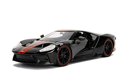 Ford Gt Black With Red Stripes  Cast Model Car By Jada