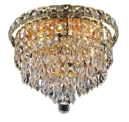 Elegant Lighting 2526F10G/RC Tranquil 8-Inch High 4-Light Flush Mount, Gold Finish with Crystal (Clear) Royal Cut RC Crystal